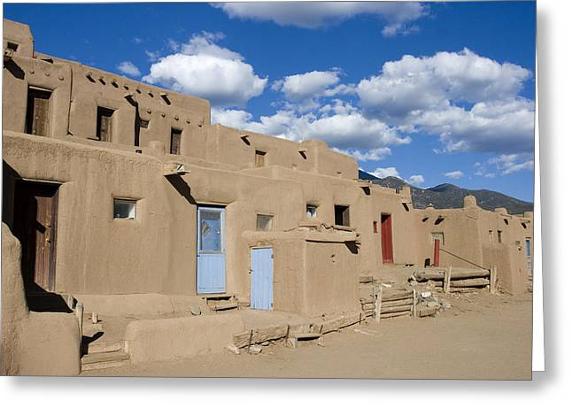 Native Architecture Greeting Cards - Taos Pueblo Greeting Card by Elvira Butler