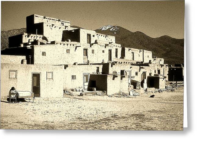 Adobe Mixed Media Greeting Cards - Taos Pueblo New Mexico - Ink Drawing Greeting Card by Peter Fine Art Gallery  - Paintings Photos Digital Art