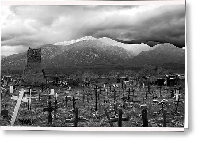 Conservative Greeting Cards - Taos Pueblos Cemetery New Mexico Greeting Card by Mark Goebel