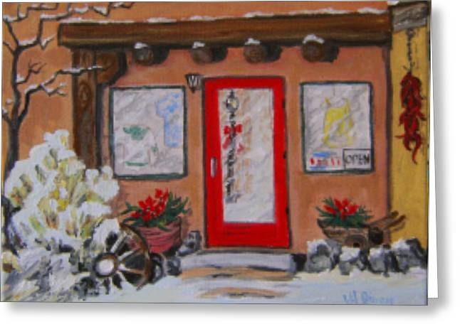 Adobe Pyrography Greeting Cards - Taos Shop in Winter Greeting Card by Valerie Ann Peterson