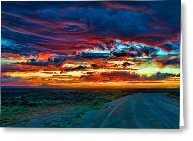New Mexico Greeting Cards - Taos sunset IV Greeting Card by Charles Muhle