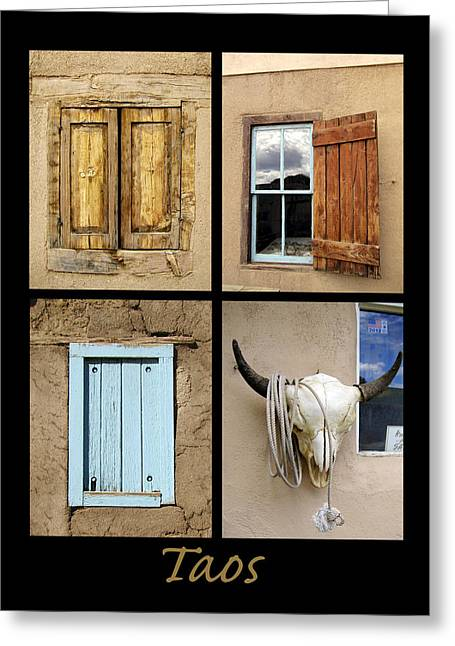 Cow Images Photographs Greeting Cards - Taos Windows  Greeting Card by Ann Powell