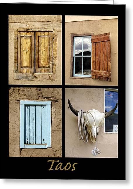 Southwest Oklahoma Greeting Cards - Taos Windows  Greeting Card by Ann Powell