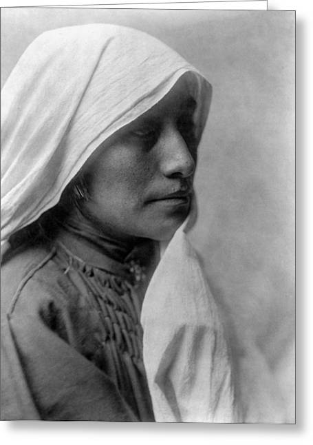 Blanket Photographs Greeting Cards - Taos woman circa 1905 Greeting Card by Aged Pixel