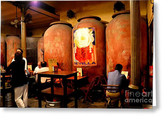 Table Wine Greeting Cards - Tapas at Casa Morales Greeting Card by Mary Machare