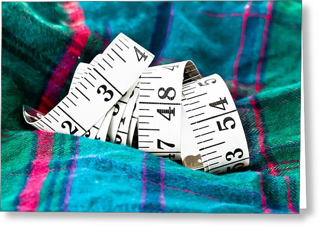 Dressmaker Greeting Cards - Tape measure Greeting Card by Tom Gowanlock
