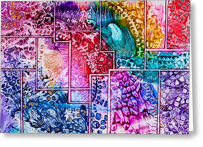 Encaustic Greeting Cards - Tapestry art pattern in wax Greeting Card by Simon Bratt Photography LRPS