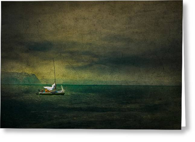 Unfurl Greeting Cards - Tapestry at sea Greeting Card by Constance Fein Harding
