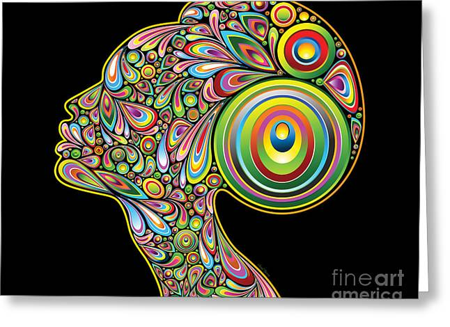 Woman Head Greeting Cards - Tapestry of a Woman Greeting Card by Cheryl Young