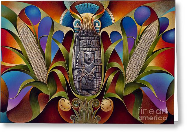 Husks Greeting Cards - Tapestry of Gods - Chicomecoatl Greeting Card by Ricardo Chavez-Mendez