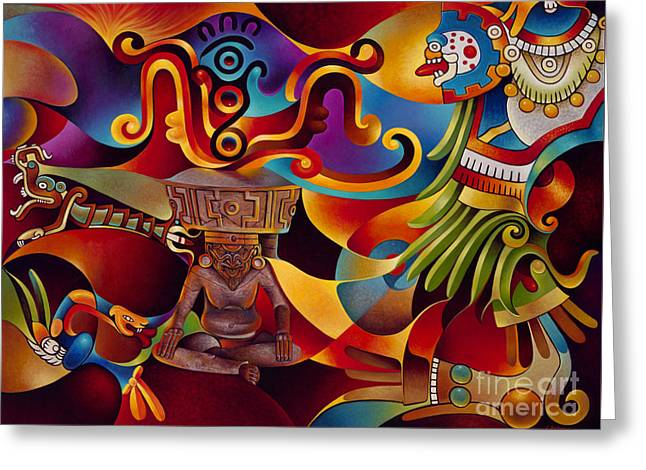 Oro Greeting Cards - Tapestry of Gods - Huehueteotl Greeting Card by Ricardo Chavez-Mendez