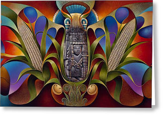 Corn Paintings Greeting Cards - Tapestry of Gods Greeting Card by Ricardo Chavez-Mendez
