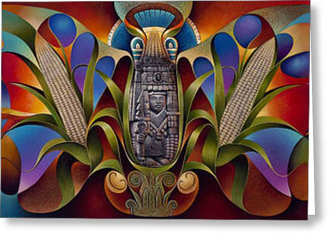 Husks Greeting Cards - Tapestry of Gods Greeting Card by Ricardo Chavez-Mendez