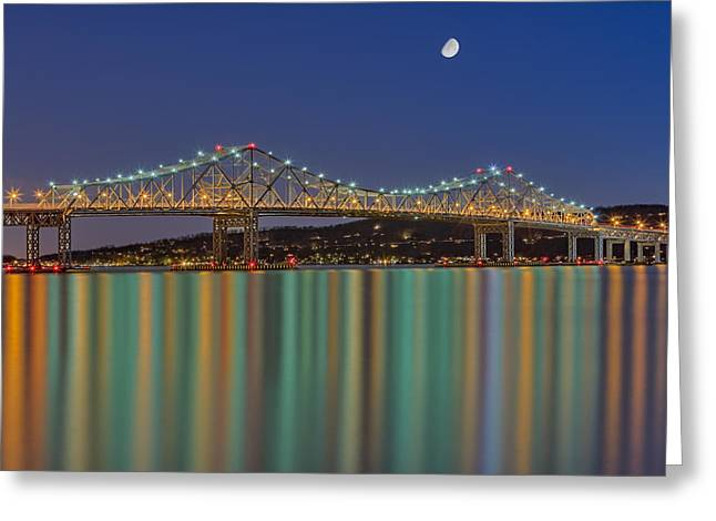 Night-scape Greeting Cards - Tappan Zee Bridge Reflections Greeting Card by Susan Candelario
