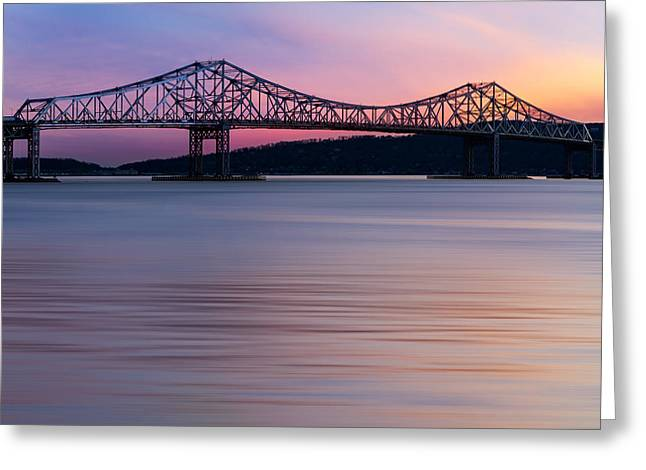 Night-scape Greeting Cards - Tappan Zee Bridge Sunset Greeting Card by Susan Candelario