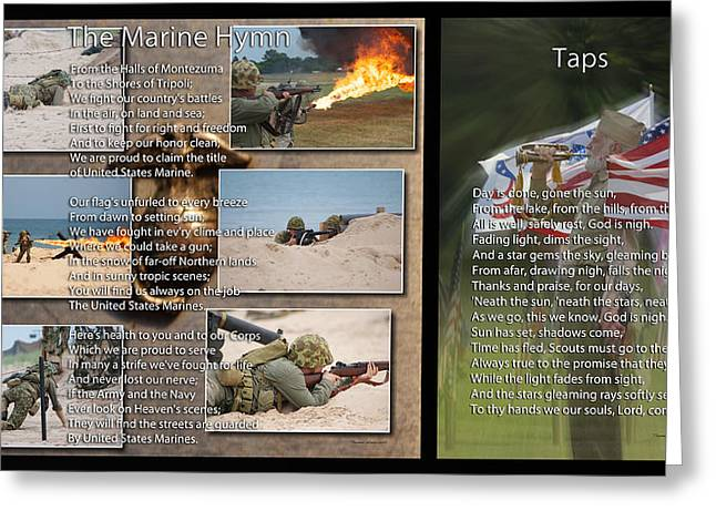 Jarhead Greeting Cards - Taps And The Marine Hymn 2 Panel Greeting Card by Thomas Woolworth