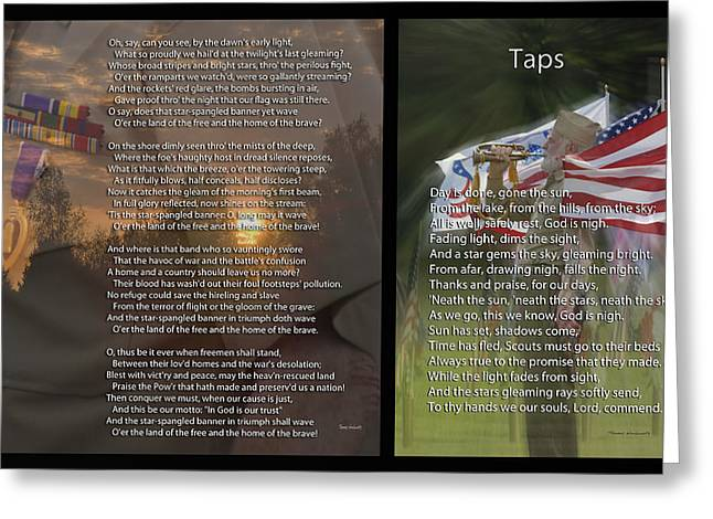 Jarhead Greeting Cards - Taps And The Star Spangled Banner 2 Panel Greeting Card by Thomas Woolworth