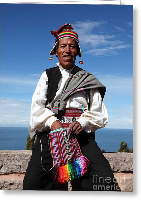 Custom Person Portrait Greeting Cards - Taquile Islander Greeting Card by James Brunker
