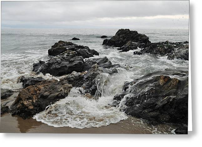Coast Highway One Greeting Cards - Tar Pits Park Crashing Waves Carpinteria Greeting Card by Kyle Hanson