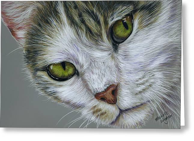 Pet Greeting Cards - Tara Cat Art Greeting Card by Michelle Wrighton