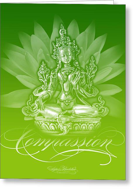 Buddha Tapestries - Textiles Greeting Cards - Tara Compassion Electric Lime Greeting Card by Thomas Mattson
