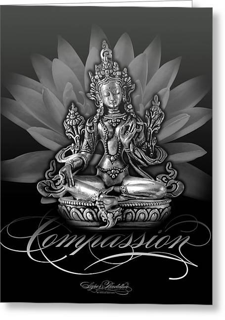 Buddha Tapestries - Textiles Greeting Cards - Tara Compassion Sable Greeting Card by Thomas Mattson