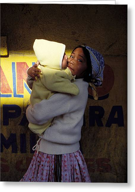 Safekeeping Greeting Cards - Taramujara Girl And Baby Greeting Card by Mark Goebel