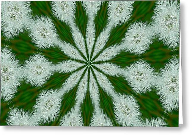 Milk Teeth Greeting Cards - Taraxacum Officinale Seed Abstract Kaleidoscope Greeting Card by Tracey Harrington-Simpson
