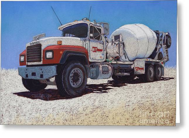 Kansas Pastels Greeting Cards - Tarbet Cement Truck Greeting Card by Tracy L Teeter