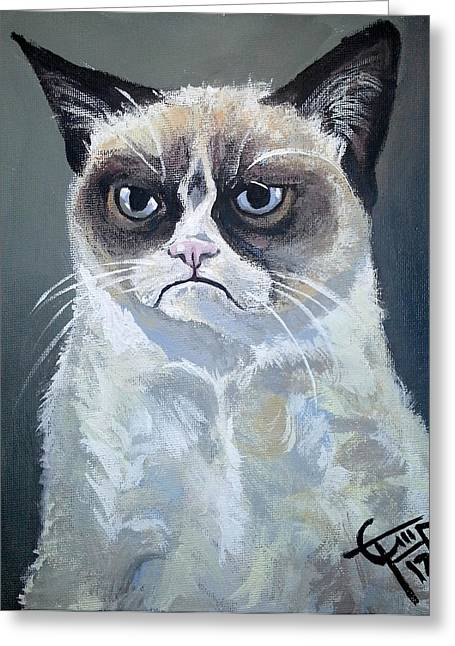 Carlton Greeting Cards - Tard - Grumpy Cat Greeting Card by Tom Carlton