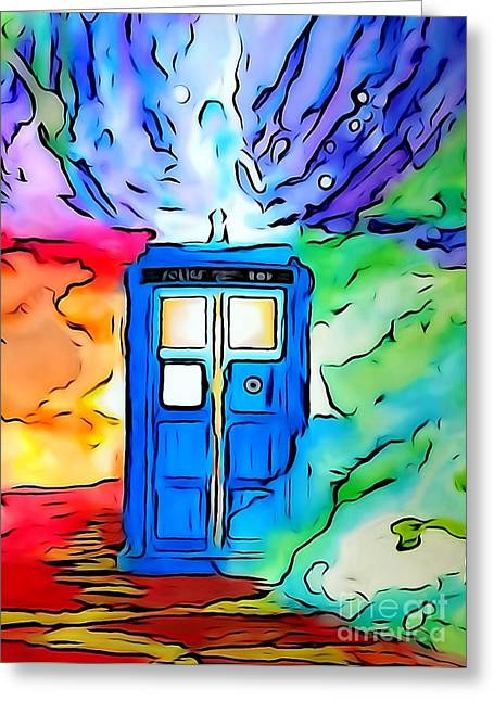 Justin Moore Digital Art Greeting Cards - Tardis Illustration Edition Greeting Card by Justin Moore