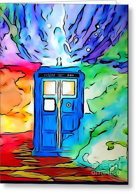 Pen And Ink Drawing Greeting Cards - Tardis Illustration Edition Greeting Card by Justin Moore