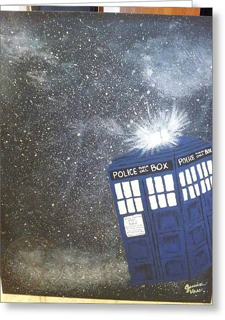 Fandom Greeting Cards - TARDIS in Space Greeting Card by Jessica Vass