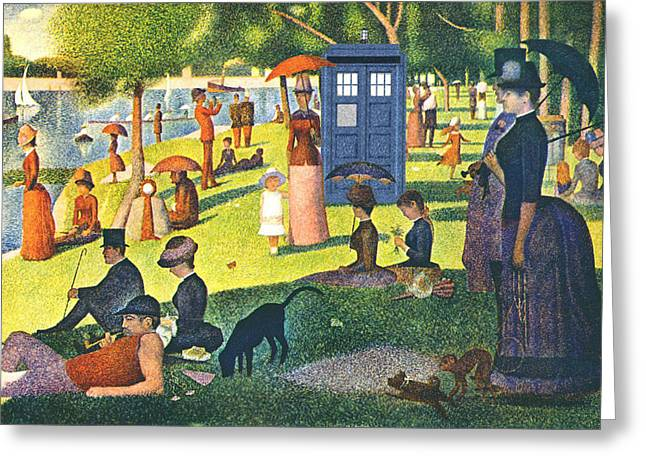 Seurat Greeting Cards - TARDIS v Georges Seurat Greeting Card by GP Abrajano