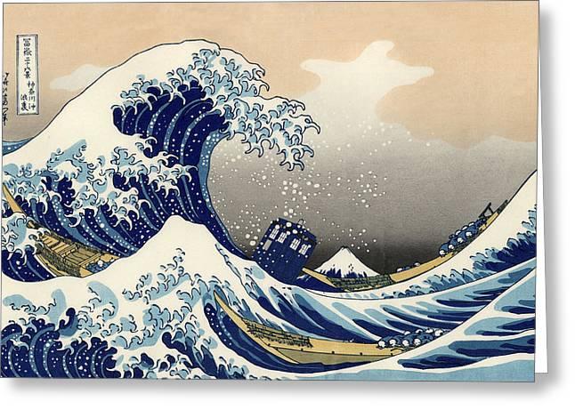 Tardis V Katsushika Hokusai Greeting Card by GP Abrajano