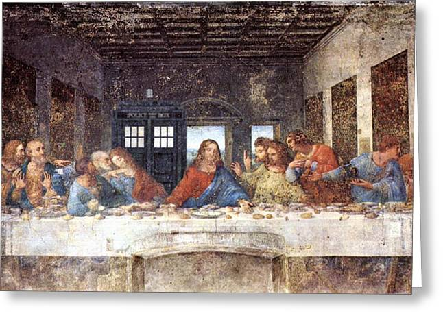 Last Supper Digital Greeting Cards - TARDIS v Leonardo Da Vinci Greeting Card by GP Abrajano