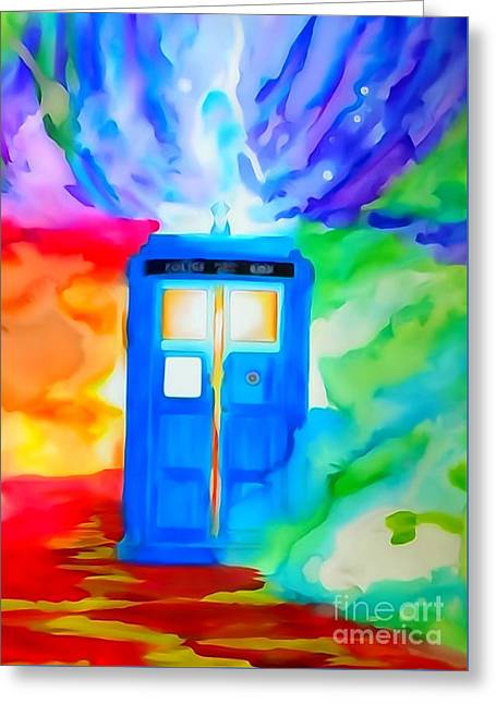 Pen And Ink Drawing Greeting Cards - Tardis Watercolor Edition Greeting Card by Justin Moore