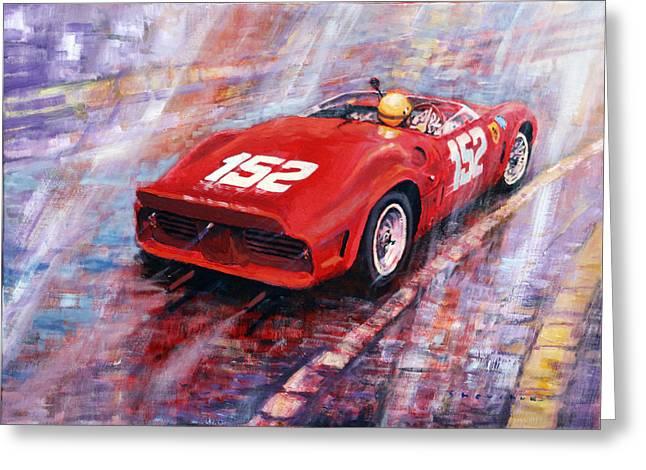Sp Greeting Cards - Targa Florio 1962 Ferrari Dino 246 SP R Rodrigues  Greeting Card by Yuriy Shevchuk