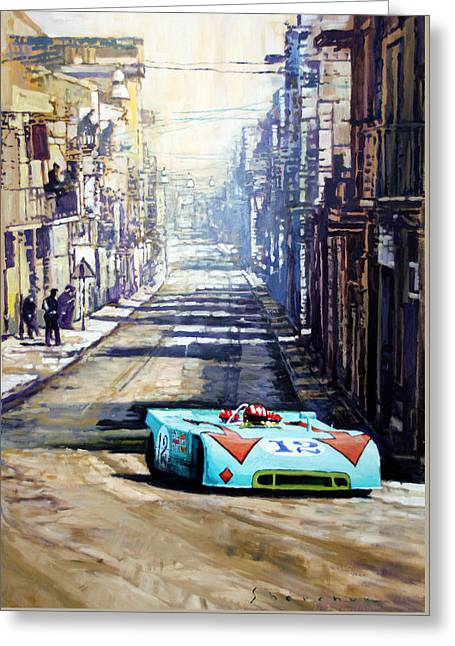 Sport Legends Greeting Cards - Targa Florio 1970  Porsche 908 Siffert Greeting Card by Yuriy Shevchuk