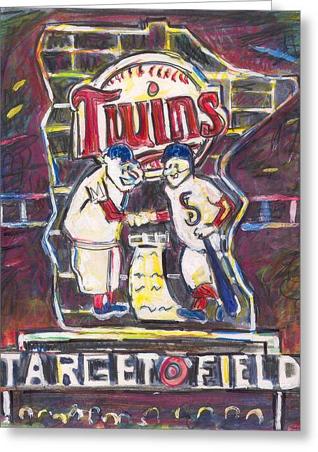 Baseball Stadiums Paintings Greeting Cards - Target Field at Night Greeting Card by Matt Gaudian