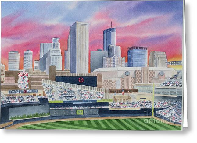 Baseball Paintings Greeting Cards - Target Field Greeting Card by Deborah Ronglien