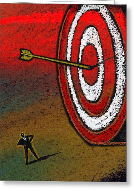 Target Greeting Card by Leon Zernitsky