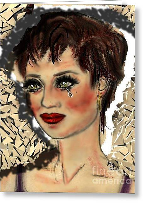 Red Lips Pastels Greeting Cards - Tarnished Greeting Card by Desline Vitto