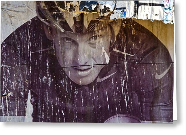 Lance Armstrong Greeting Cards - Tarnished Image Greeting Card by Mark Weaver
