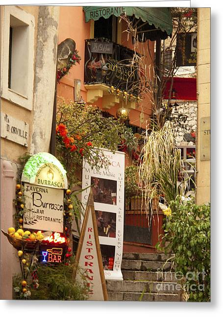 Sicily Greeting Cards - Taormina Steps Greeting Card by David Smith