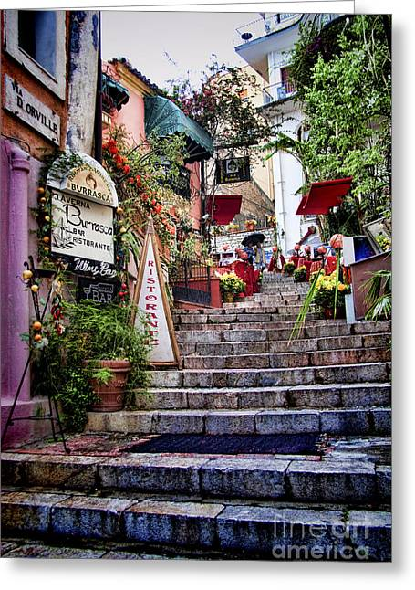 Italian Mediterranean Art Greeting Cards - Taormina Steps Sicily Greeting Card by David Smith