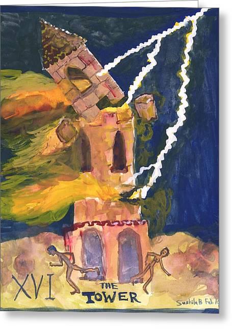 Lightning Strike Paintings Greeting Cards - Tarot 16 the Tower Greeting Card by Sushila Burgess