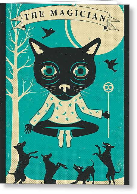 Tarot Greeting Cards - TAROT CARD CAT The Magician Greeting Card by Jazzberry Blue