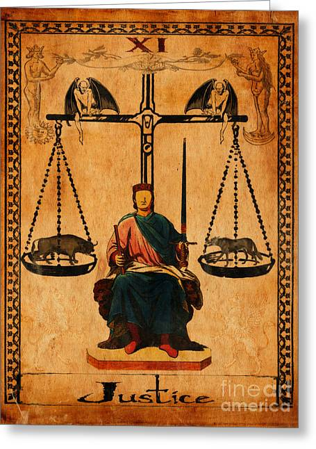 Mysticism Greeting Cards - Tarot Card Justice Greeting Card by Cinema Photography