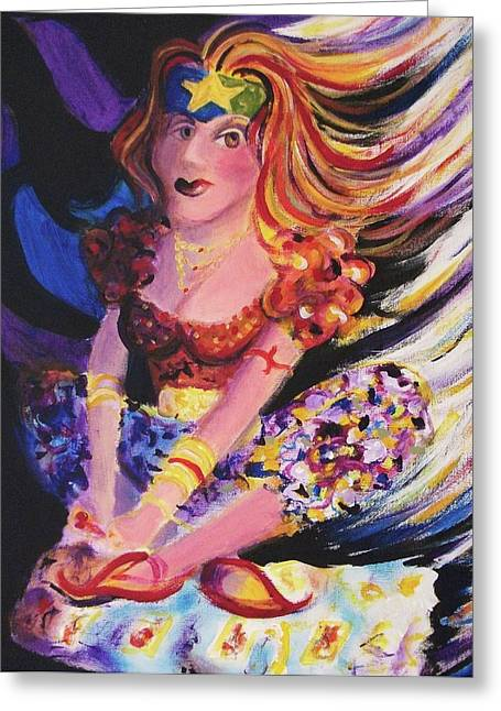 Suzanne Marie Molleur Paintings Greeting Cards - Tarot Card Reader Greeting Card by Suzanne  Marie Leclair